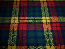 Wool Blend Fabric Loose Woven Bright Plaid 1YD 24 x 64 Home Apparel Craft
