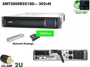 302vn~ APC SMT LCD SmartUPS 3000va WebCard UPS SMT3000R2X180 #NewBatts