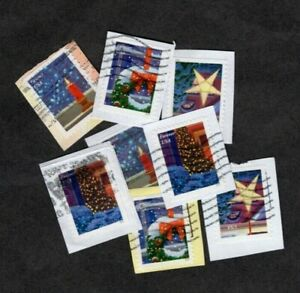 100+ #5145-8 Holiday Window Views Stamps, Used, Forever (47 cent), On Paper