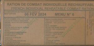 #2024 Ration de combat menu N° 6  Armée francaise  RCIR MRE  24 H 00
