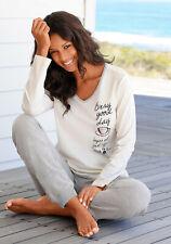 Vivance Dreams Pyjama mit seitlichem Print, ecru-grau meliert. NEU!!!