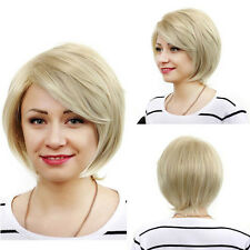 Women Bob Stylish Wig Short Blonde Full Hair Straight Curly Party Cosplay Wigs