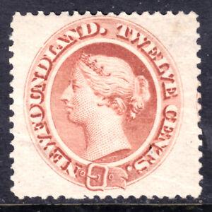 NEWFOUNDLAND #28 12c PALE RED BROWN, 1870, VF, OG-LH