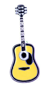 Yellow enamel guitar brooch / pin