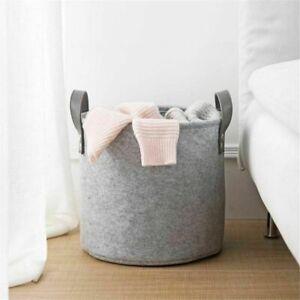 Large Grey Felt Storage Basket Bin w/ Handle Bedroom Closet Clothes Toy Storage