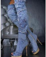 Gladiator Womens Over Knee High Heel Denim Stiletto Sandal Boot Open Toe Shoes