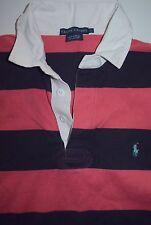Womens L Ralph Lauren LS Long Sleeve Polo Rugby Shirt Pink Navy Awning Stripe