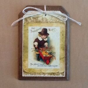 5 Handcrafted THANKSGIVING Ornaments/Hang Tags/FALL BowlFillers/GiftTags Set72K