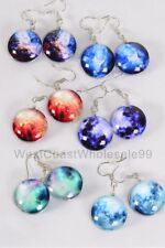 6 Pairs Fashion Earrings Galaxy Double Sided Glass Dome Jewelry Wholesale Lot