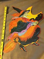 NEW VINTAGE HALLOWEEN CURRENT 1980 FLYING WITCH & CAT DIE CUT - SUPER RARE!