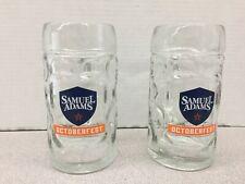 Pair of Samuel Adams 16 oz. Glass Beer Mug Steins - Octoberfest Seasonal Brew
