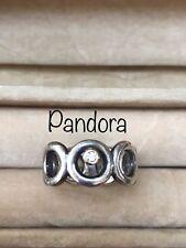 Retired Rare HTF Pandora Silver 14K Gold Big Circles Diamond Ring, sz 5.5 19224D