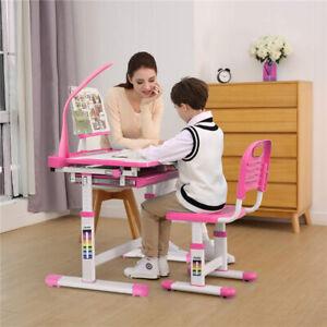 Adjustable Kid Desk Chair Set Students Study Desk Table W/ Storage Drawer & Lamp