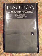Nautica Solid Loden Green 2 pack Standard Pillowcases 500TC NEW Cotton Blend