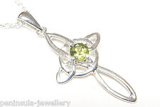 """Sterling Silver Peridot Celtic Cross Pendant and 18"""" chain Boxed Made in UK"""