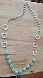 """30"""" Sterling Silver Lt Green Pearl Stone Crystal Mother Pearl Necklace Earrings"""