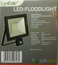 LED Slimline Floodlight With Pir Black 30w LyvEco Quality Security Floodlight.