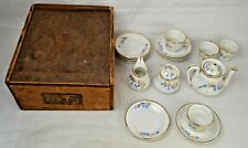 Antique Childs Toy Porcelain Tea Set With Plates And Original Marked Wood Box