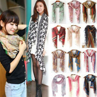 NEW Women Autumn Winter Silky Scarf Floral Voile Long Shawl Soft Cotton Pashmina
