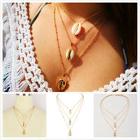 1Pcs Woman Gold Plated Double Layer Conch shell Necklace Pendant Choker Jewelry