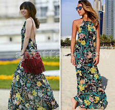NWT ZARA FLORAL PRINT GREEN BLACK YELLOW LONG MAXI DRESS, HALTER NECK SIZE S/26