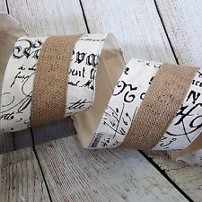 """2 YARDS (6 Ft) 4"""" WIDE BURLAP WIRED Craft Ribbon FRENCH SCRIPT COUNTRY FRENCH"""