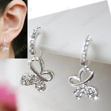 U CLIP ON CRYSTAL BUTTERFLY 2cm drop small EARRINGS silver rhinestone NON-PIERCE