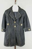 Baccini Womens Ladies Blue Denim Knee Length Coat Jacket Size Medium