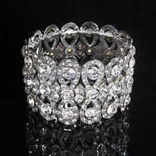Bling Clear Crystal Rhinestone Bracelet Bangle Wedding Bridal Wristband