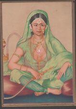 Folio de India pintura, Señora con papel de pipa para fumar tamaño 21.5 cm X 15 Cm