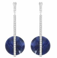 Swarovski Disk Pierced Earrings, natural stone Blue/clear Crystal  MIB 5157021