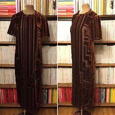 Géométrique velours art déco Maxi robe longue S UK 8/US 4 1920 S
