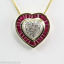 NECKLACE 2.00 CT. RUBY & 0.20 CT. DIAMOND CLUSTER HEART PENDANT 14K YELLOW GOLD