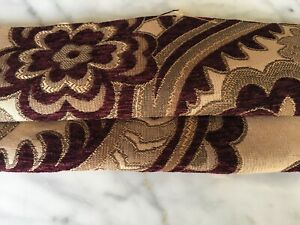 """Upholstery Fabric Cut Velvet Floral Pattern 56""""W Color Wine  Free Ship & Returns"""