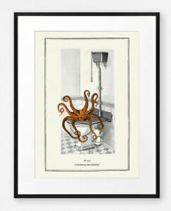 Vintage Surreal Octopus Steampunk Bathroom Toilet Wall Art Print Illustration