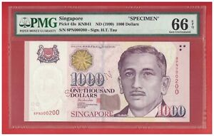 SINGAPORE $1000 PORTRAIT SPECIMEN NOTE, 8PN000200, Gem Uncirculated PMG 66 EPQ