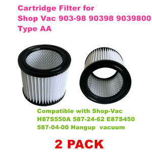 2 PACK 90398 filter for shop vac 903-98 90398 9039800 Type AA fits Shop Vac