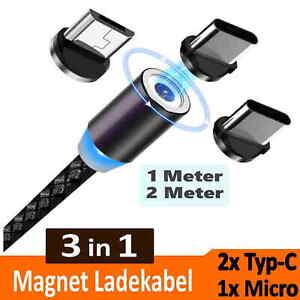 Ladekabel Micro USB Typ-C für Samsung Handy Magnet LED 1m | 2m Xiaomi Huawei LG