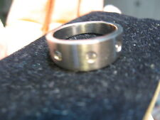 BRUSHED STAINLESS STEEL and CZ RING Size 8 Band