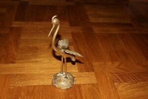 Beautifull Vintage statue crane bronze statue with an inscription Hand Made Used