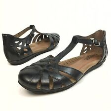 Cobb Hill Rockport Leather Sandals, Women's Sz 10N Black T-Strap Zipper Buckle