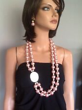 Necklace Earrings Set Peach Pearls Mother Of Pearl Big Designer Fashion Women