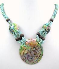 "Handmade 2"" Iridescent Paua Abalone Shell Beads necklace 19"" long: GA369"