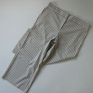 NWT Ann Taylor The Wide Leg Crop in Ivory Striped Stretch Crop Pants 14
