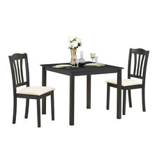 3 Piece Dining Set Square Dinning Pub Table w/ 2 Solid Wooden Chairs Padded Seat