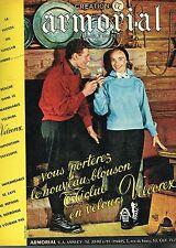 D- Publicité Advertising 1955 Les Vetements Ski Velours Velcorex Armorial