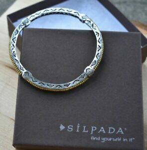 Silpada B2313 Sterling Silver and Brass Stretch Arrowhead Bangle Rare HTF