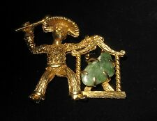 Vintage Figural BSK Asian Man Pin Brooch Green Jade Gong
