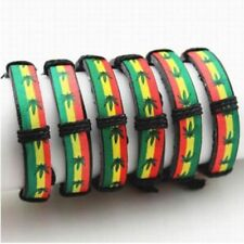 Cord Design Leather Leaf Pot Raggae Rasta Bracelet Weed Bangle