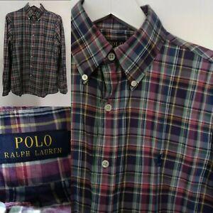 POLO Ralph Lauren Men's Shirt Pink Purple Green Check Print Long Sleeve Party S